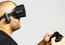 A man playing with VR.