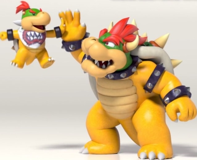 Bowser giving his kid a high five.