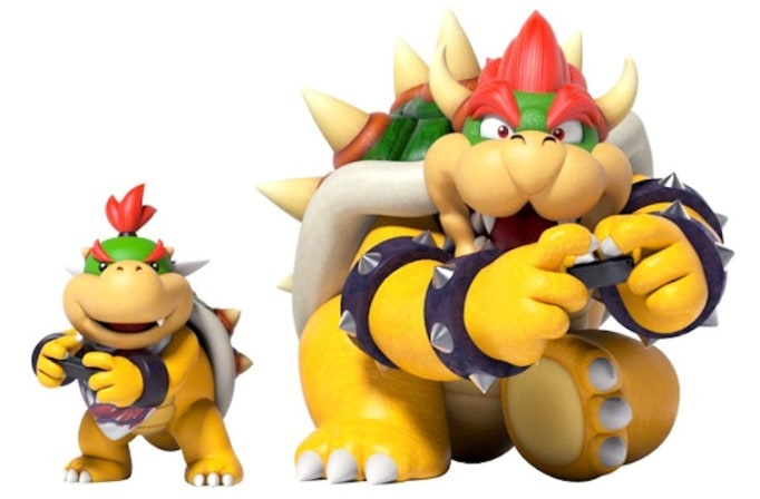 Bowser gaming with his kid, bonding with his child as a parent gamer.