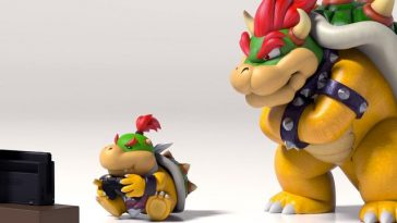 Bowser watching his kid gaming wondering if his kid should be allowed to play video games.
