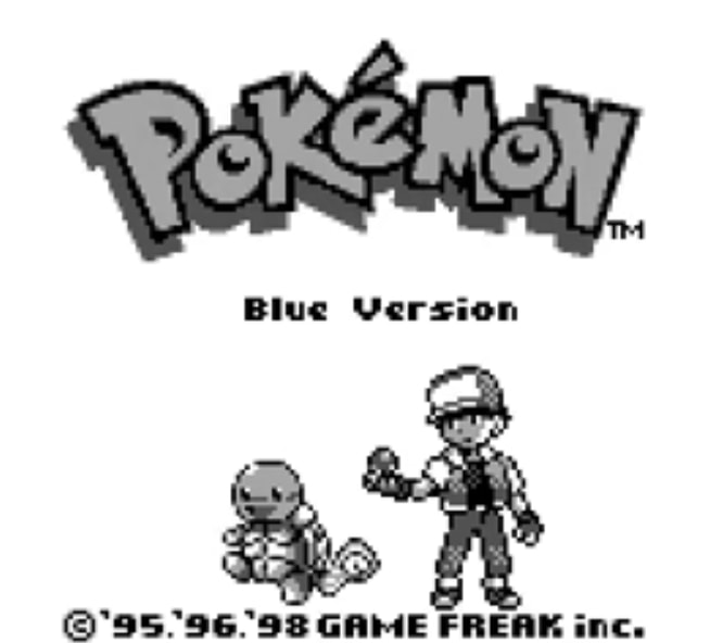 The Pokemon Blue main screen showing Blue with Squirtle.