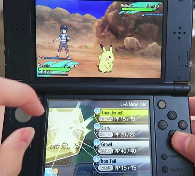 Playing Pokemon Sun Moon on the 3DS.