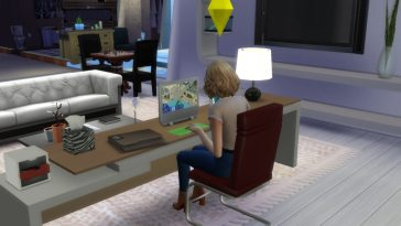The Sims working on a PC.