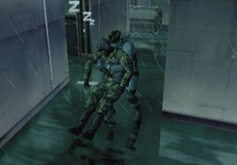 Solid Snake from Metal Gear Solid having put a guard to sleep.