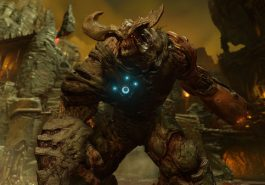 A screenshot frim Doom showing a huge monster.