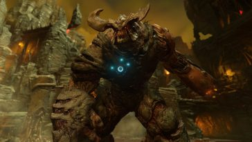 A screenshot frim Doom showing a huge monster.