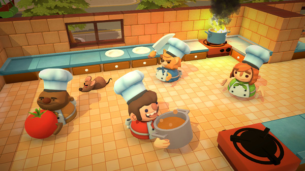 Overcooked showing the chefs working in the kitchen.