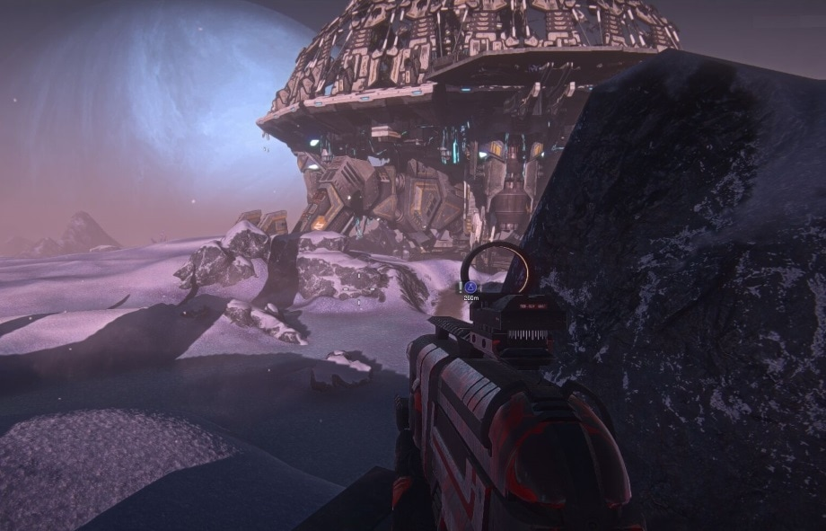 A screenshot of Planetside 2, showing a snowy war zone.