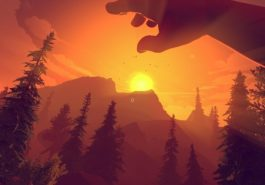 Firewatch looking out over the sunset in a forest.