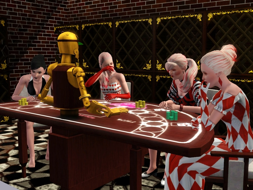 Gambling in The Sims with a gold robot dealing cards.