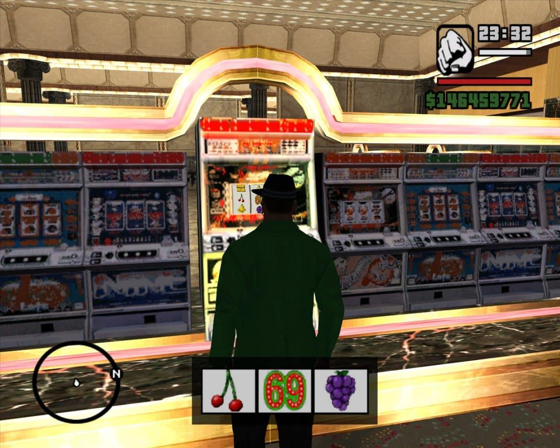 CJ in a casino in GTA San Andreas