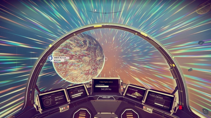 No Mans Sky, flying through the stars.