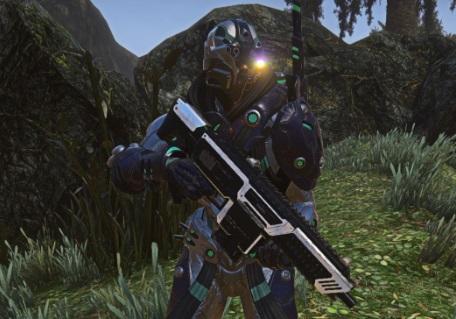 A futuristic soldier holding a gun.