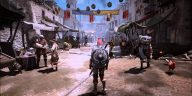 A Black Desert Online character standing in a medieval town with a shield on their back.