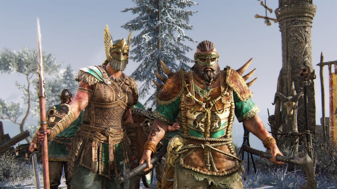 Two characters in For Honor, dressed in armour, ready to fight.