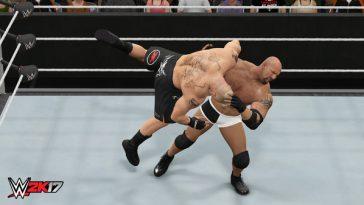 A wrestling match in WWE 2k17