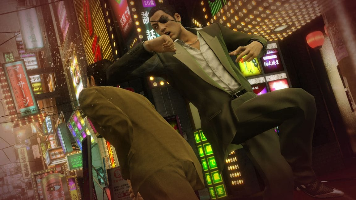 Yakuza 0, a man elbowing another man in the back