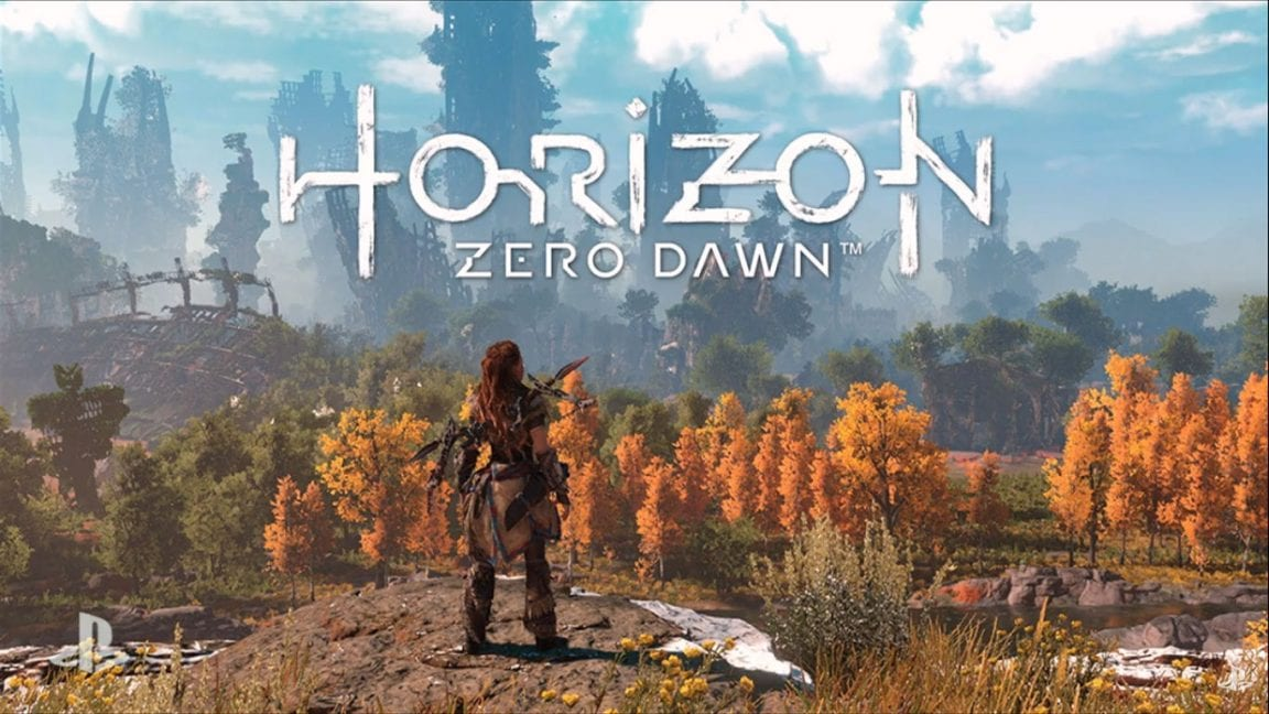 Horizon Zero Dawn showing a red haired character looking out over a forest