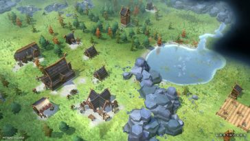 A village in Northgard created next to rocks and a lake.