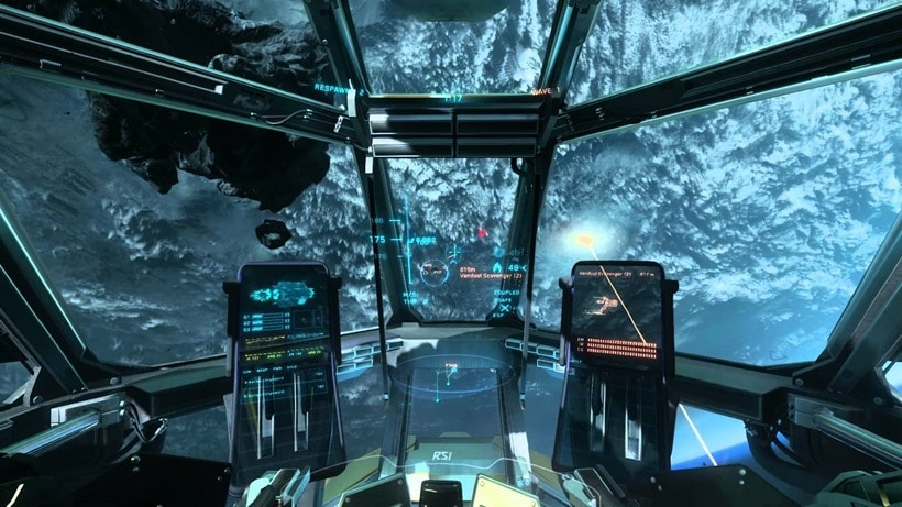 Star Citizen showing an incredible planet from a cockpit view.