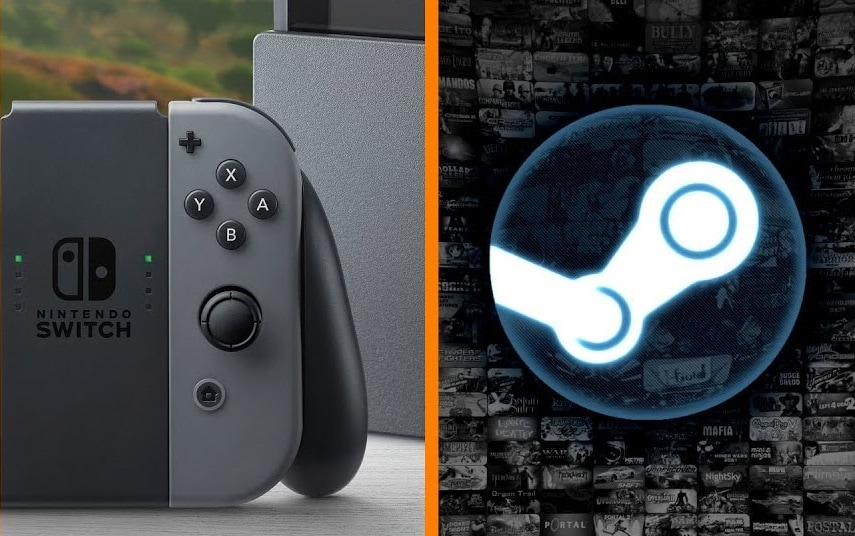 The Nintendo Switch beside the Steam logo.