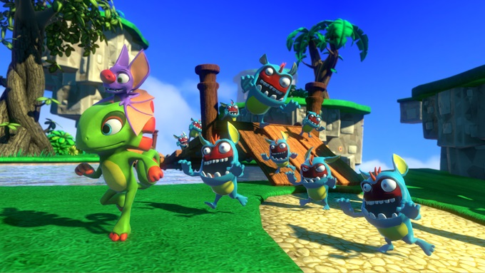 Yooka-Laylee showing the main characters being chased by enemies in a colourful scene.