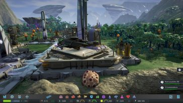 A futuristic city in Aven Colony showing a helicopter on a helipad.