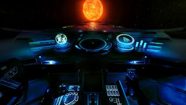 The Elite Dangerous cockpit HUD, looking out to a burning sun.
