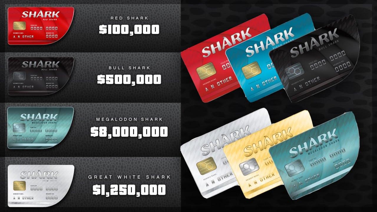 The GTA shark cards, similar to credit cards.