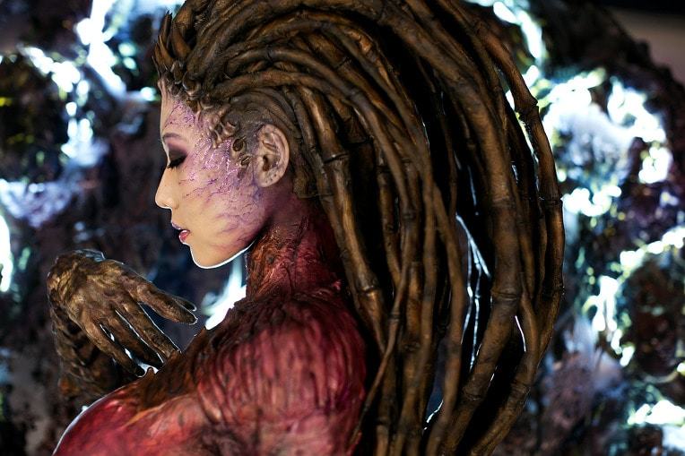 Someone cosplaying Kerrigan, with branches for hair.