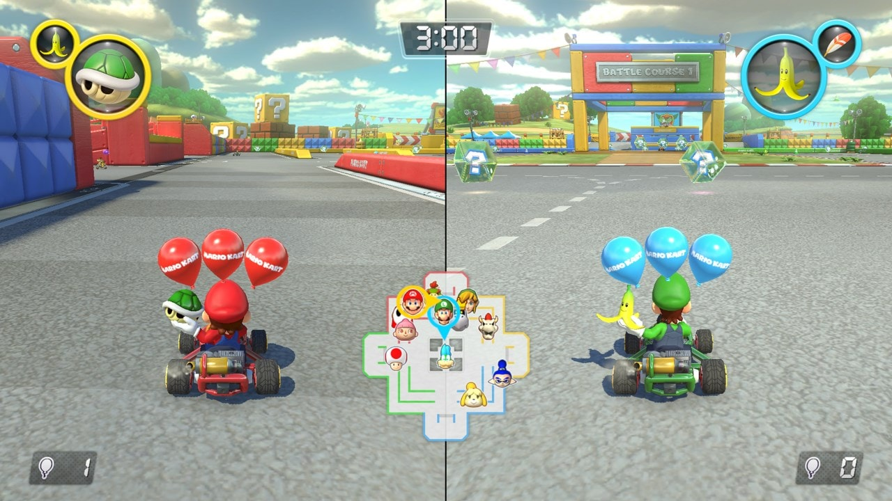 MarioKart 8 on the Switch showing Mario racing Luigi in two racing carts with balloons.