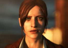 Claire Redfield from Resident Evil staring into the camera.
