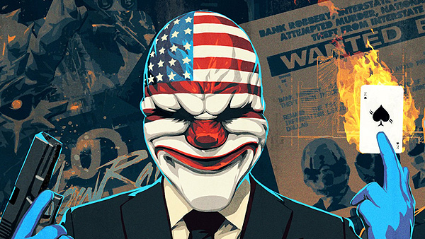 A character from Payday 2, wearing a USA flag mask and clutching a gun and a burning playing card.