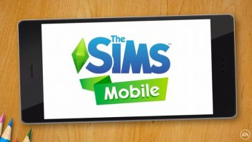 The Sims mobile logo on a phone screen.