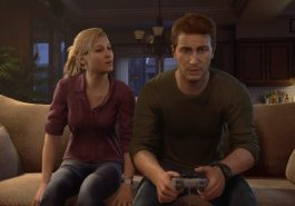 Uncharted 4, Drake gaming on the couch with a friend as an adult gamer.
