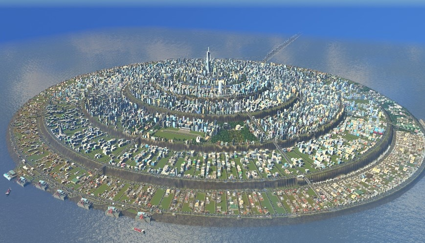 A circular city created in Cities Skylines