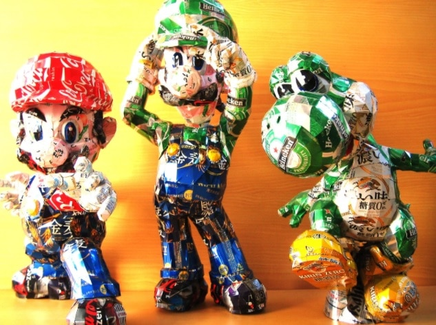 Mario, Luigi and Yoshi made out of cans.