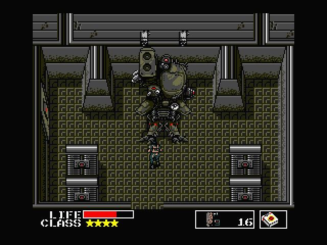 The original Metal Gear showing Snake fighting Metal Gear.