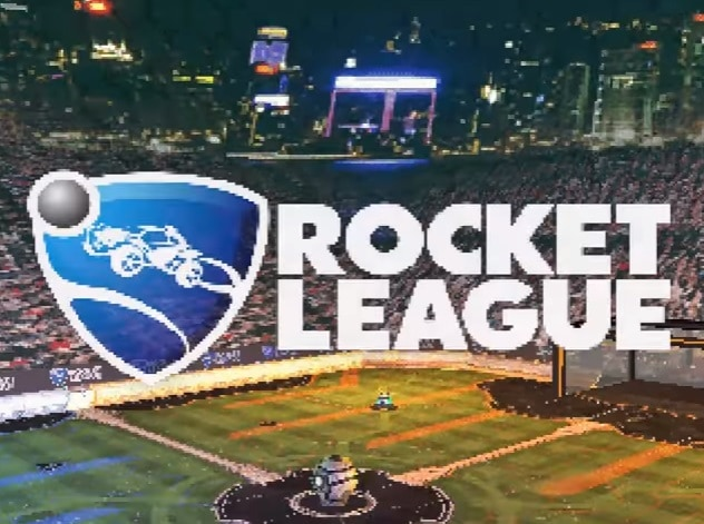 A pixelated Rocket League logo