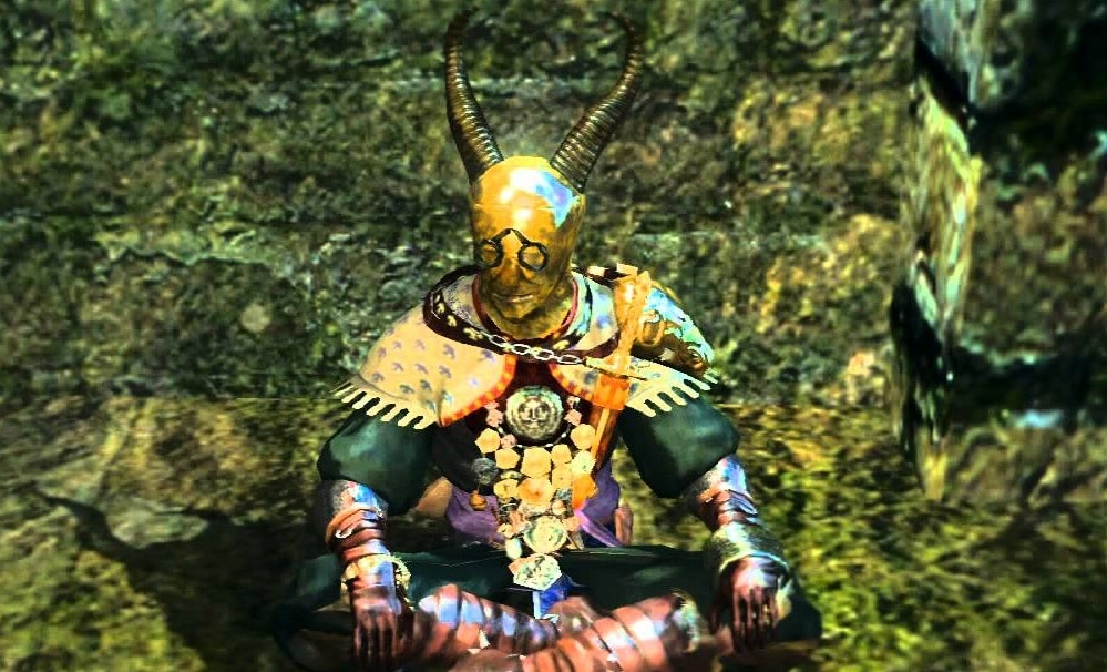 A golden man, Domhnall of Zena, from the Dark Souls game