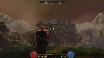 Legends of Ellaria showing a man in front of a mountain.