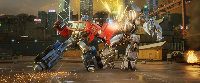 Transformers fighting, causing an explosion.