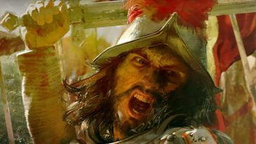 Age of Empires, a man holding a sword and looking angry.