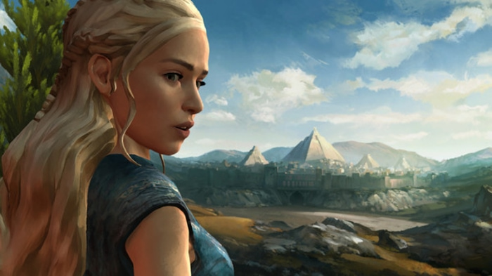 Khalesi from the Game of Thrones video game looking over her city with pyramids