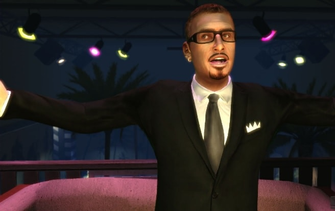 GTA's Gay Tony wearing a black suit.