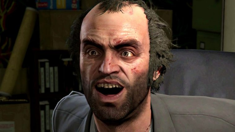 GTA 5's Trevor looking shocked.