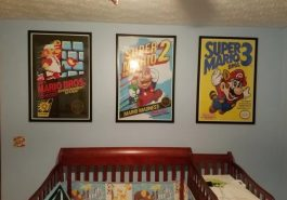 A kid's bedroom decorated with Mario merchandise