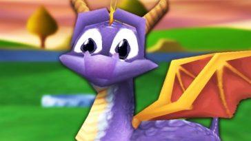 Spyro the purple dragon looking bewildered.