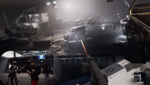 A fight in VR shooting a gun at an enemy by a car.