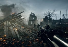 Battlefield 1 war zone showing smouldering buildings and a character holding a gun